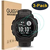 HEYUS [3 Pack] for Garmin Instinct Screen Protector,9H Hardness Scratch Resistant Anti-Bubbles Anti-Fingerprint Tempered Glass Screen Protector Protective Film Cover for Garmin Instinct