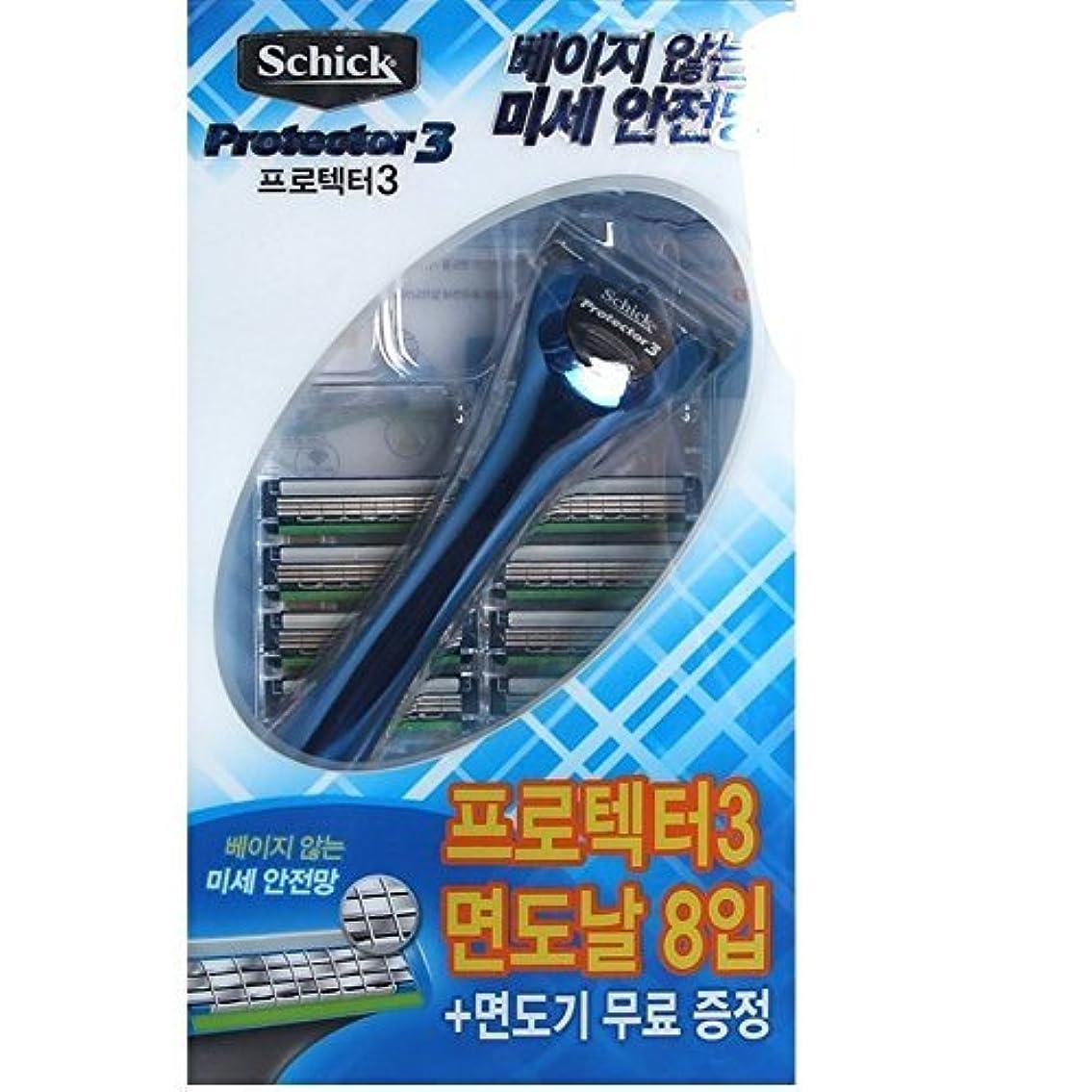 後素人観光Schick Protector3 1 Razor + 8 カートリッジリフィルブレイド [並行輸入品]
