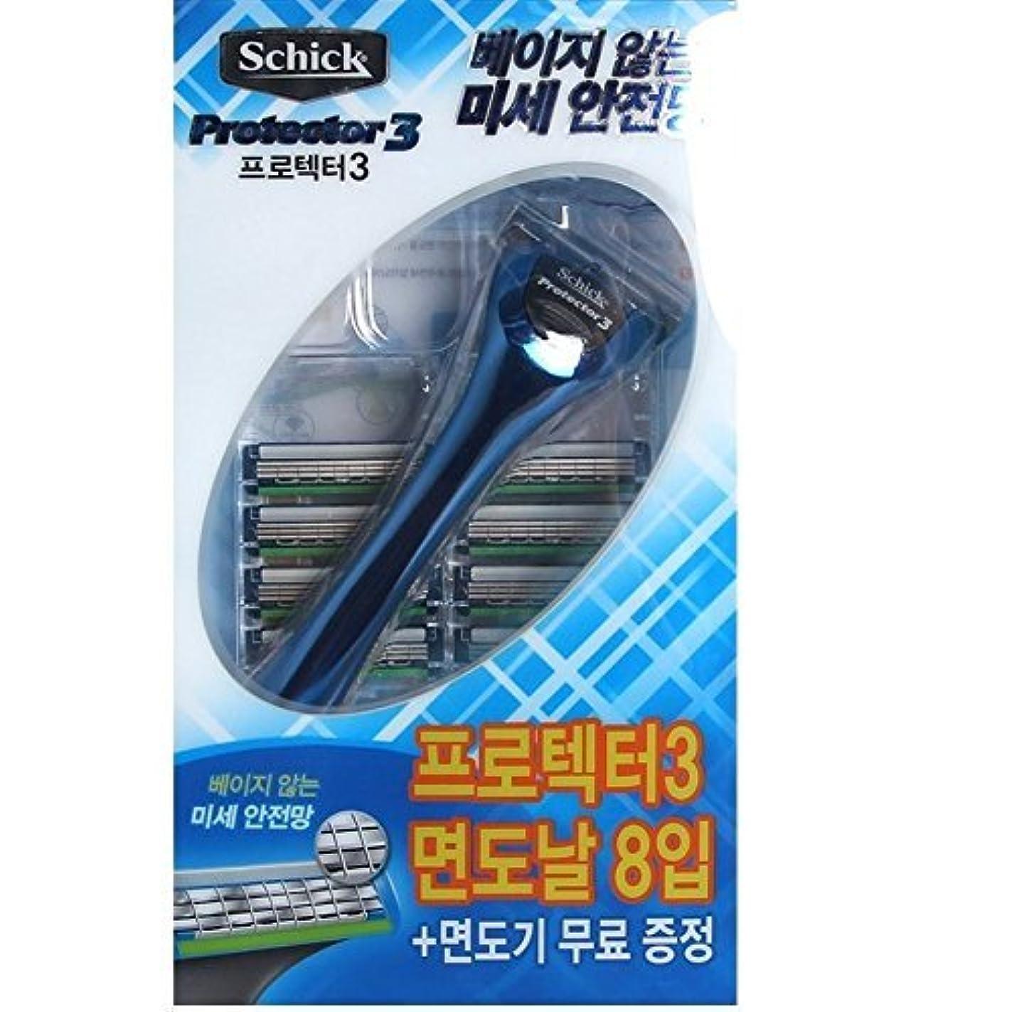 リハーサルペア平凡Schick Protector3 1 Razor + 8 カートリッジリフィルブレイド [並行輸入品]