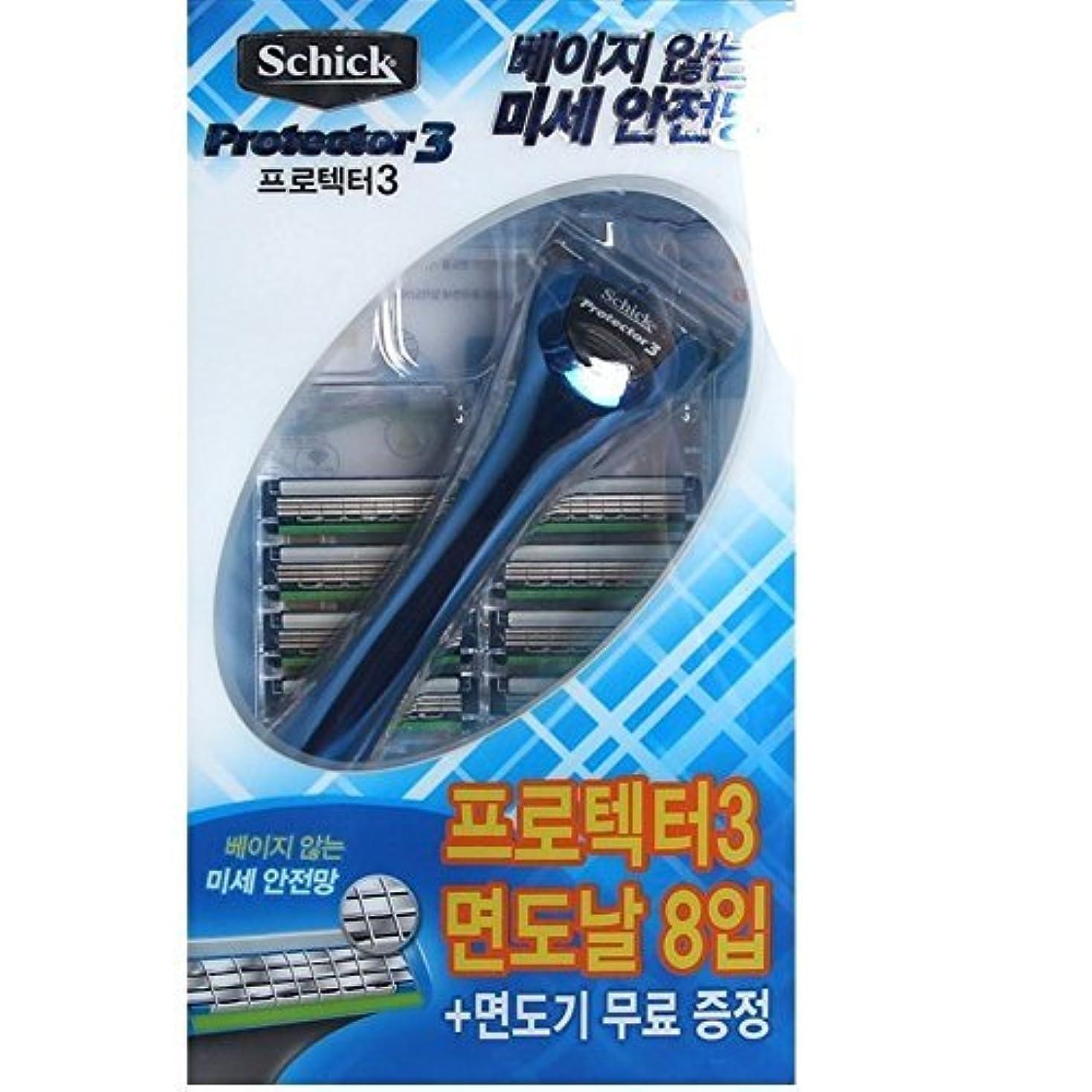 レトルト入札ぴかぴかSchick Protector3 1 Razor + 8 カートリッジリフィルブレイド [並行輸入品]
