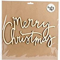 Lucky Dip Wood Flourish-Merry Christmas Script Words 25cm x 25cm