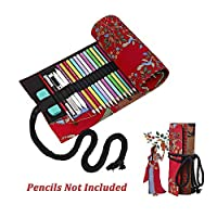 (48) - Summer Clearance 2017-Valentoria Red Tree Canvas Sketching Drawing Pencil Wrap Pouch Roll Up Case Holder Storage Bag (48)