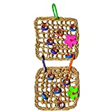 Bird Gnaw Toy Parrot Toy with Double-layer Climbing Net Woven Seargrass Mat Bird Toy Hanging Hook Wall Bird Toys for Cockatoo Great Gift for Birds Random Color 1 Pc
