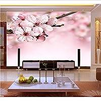 Weaeo 8D / 5Dピンクの桃の花花の壁画3D壁の壁紙の壁紙のテレビの背景のための居間の3D壁の壁画壁紙-400X280Cm