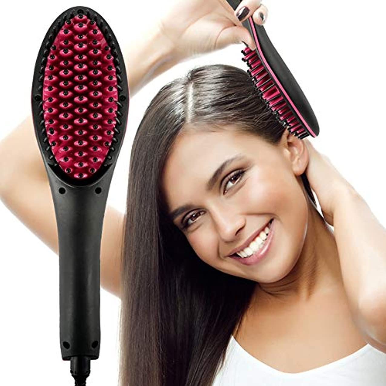 覚醒楽なラッドヤードキップリング電気毛矯正ブラシセラミック高速加熱電気ブラシくし鉄ディスプレイすべての髪型に適したアンチスカルド効果的な髪くし