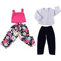 Lovoski ファッション 布製 人形服 Tシャツ タンク トップズ パンツ ズボン 18インチアメリカガールドール人形用 4点