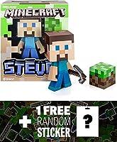 "Steve w/ Pickaxe & Dirt Box: ~6"" Jinx Minecraft Figure Series + 1 FREE Official Minecraft Mini-Sticker Sheet Bundle [並行輸入品]"