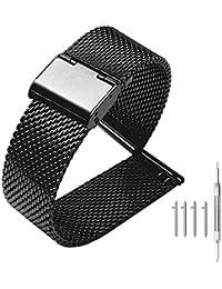 22mm 時計バンド メッシュベルト Samsung Gear S3 バンド ステンレス 交換ベルト LG G Watch メッシュ ブラック メタルバンド ステンレス鋼 男女兼用