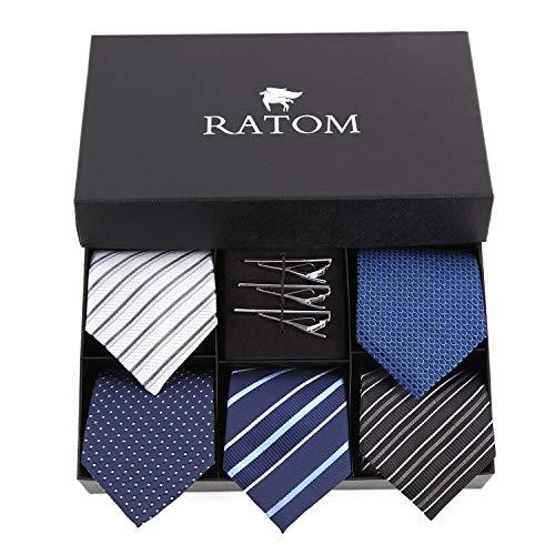 RATOM ネクタイピン ネクタイ セット【ネクタイ5本+ピン3本+ギフトボックス、洗濯OK】 (ブラック系)