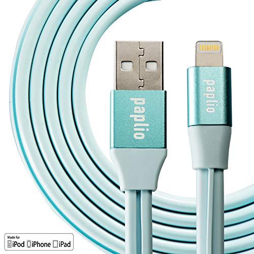 "paplio SnapIT Lightningケーブル iPhone充電ケーブル 【Apple MFi認証・簡単收納・高耐久】5V/3A高速充電 高速データ転送 USB同期コード 便利グッズ 断線防止 1m iPhone XS/iPhoneXS Max/iPhoneXR/ iPhone X/8/8Plus/7/7 Plus/6/6 Plus/6s/6s Plus/5/SE/5s/iPad/iPod 対応 1年保証付き"" (ブルー)"