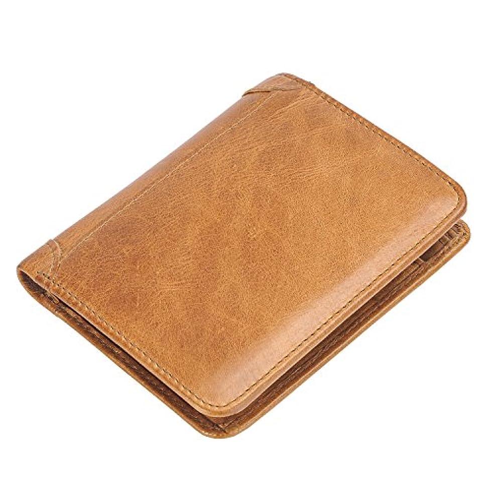 研磨数値伝統(ハンフウ) HUMGFENG メンズ財布 ウォレット ラウンドファスナーなし 二つ折り 三つ折り レザー 本革 写真入れ カード入れ 男性 コンパクト