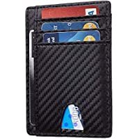 TERSELY Mens Wallet, Slim RFID Blocking Minimalist Credit Card Holder (Carbon Fibre), Holds up to 7 Cards and Bank Notes, Ideal for Travel