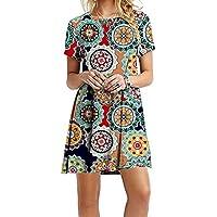 YMING Women's Casual Short Sleeve Multicolor Loose T-Shirt Dress XS-4XL
