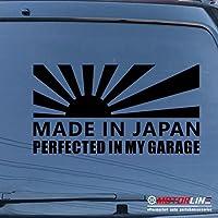 日本製Perfected in My Garage Japanese Rising Sun車デカールステッカービニール 24'' (61.0cm) ブラック 20180427s15
