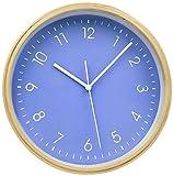掛け時計 壁掛け ウォールクロック 木目調 連続秒針 簡単デザイン サイレント クォーツ デジタル 北欧風 HIPPIH 20cm blue