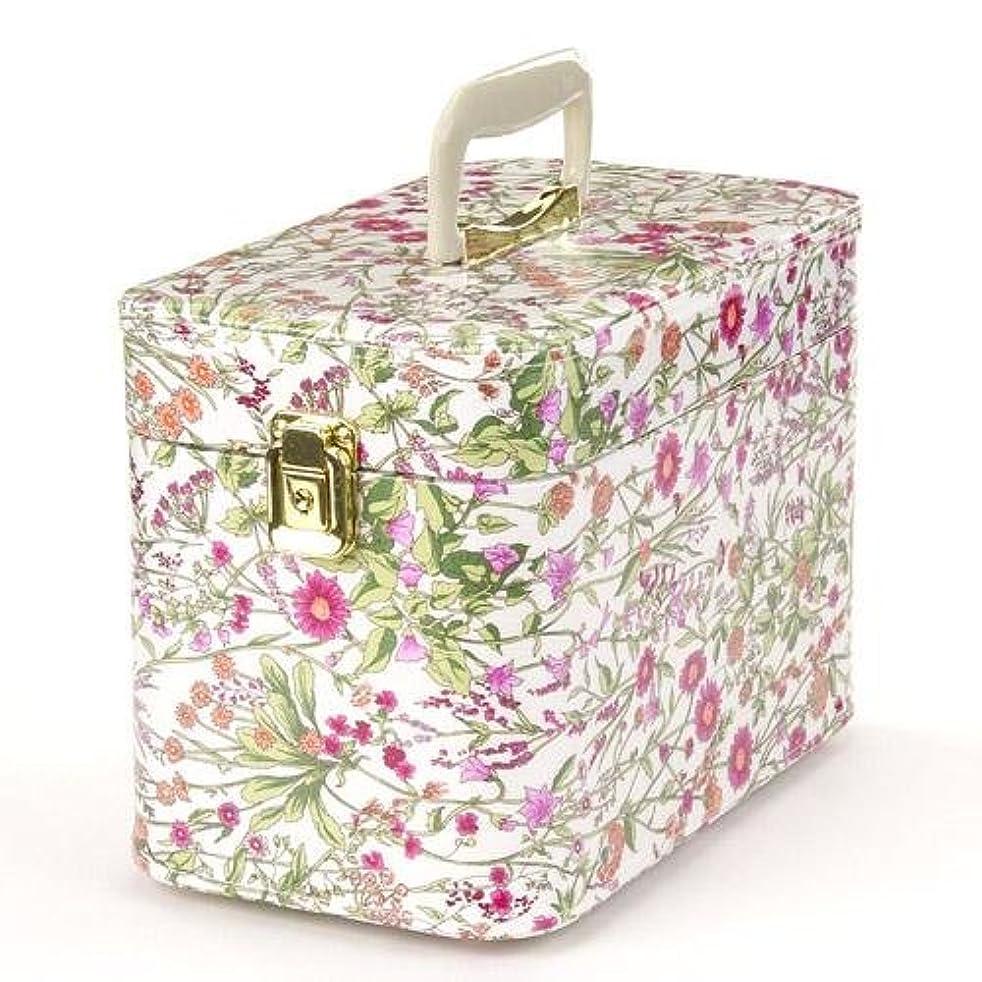 署名鳥植物学者日本製 メイクボックス (コスメボックス)ハーブガーデン 30cm ピンク トレンケース(鍵付き/コスメボックス)