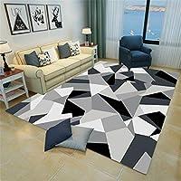 藤ラグ しまむら ラグ 現代のシンプルさ 100x160cm 長方形 単純正Nordic 3D幾何学模様スクエアマットリビングルームオフィスベッドルームフルカーペット 毛足長いラグ