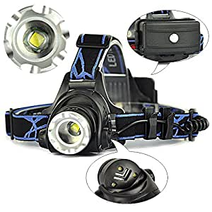 CREE XM-L T6 LEDヘッドランプ ズーム LEDヘッドライト 充電式 角度調整可能 1800ルーメン 3段階点灯 夜の作業 夜釣り アウトドアに 【充電器+3時間用18650ロング電池(保護回路付き)×2本サービス】日本語説明書付き
