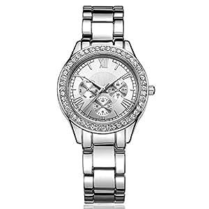 DWG レディース腕時計 クリスタル ローマ数字 電池交換可能 日本製クォーツ イタリアデザイナー 高級感 シルバー