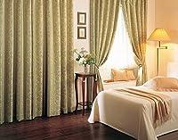 東リ 花とストライプを組み合わせた遮光カーテン カーテン1.5倍ヒダ KSA60285 幅:100cm ×丈:240cm (2枚組)オーダーカーテン