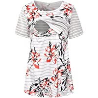 S-Comfy Women Maternity Nursing Tops Floral Stripe Short Sleeve Breastfeeding Shirt Clothes