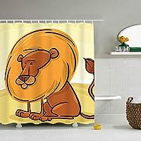アフリカのライオンの漫画 シャワーカーテン バスカーテン 防水防カビ加工 風呂カーテン おしゃれ 目隠し 間仕切り 保温 取り付け簡単