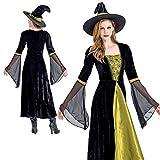 (honey&blue) 魔女 衣装 コスプレ レディース 大人 ハロウィン 仮装 女王 コスチューム【ドレス、帽子、チョーカー、3点セット】