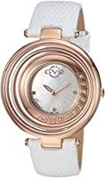 gv2 by Gevril Vittorio Womens Diamond Swiss Quartz Whiteレザーストラップウォッチ、(モデル: 1601l)