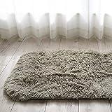洗える 肌触り 気持ちいい キッチンマット エクセレント ムーティーⅡ 約 45×240 cm グレージュ マイクロファイバー シャギー カーペット 滑り止め付き 折り畳み 丸洗い 可能