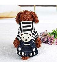 ペットストライプ服ジャンプスーツビブカウボーイ服クマビブ犬アパレル冬秋ボーダーシャツ犬小さな犬の中型犬の服を着る (L, Black)
