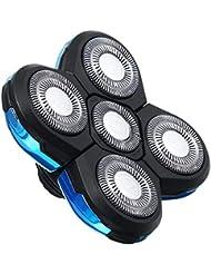 シェーバー5 sヘアトリマー髭ユニバーサル耐久性のある高速ブレードカッター交換簡単インストールフローティング実用シェービング電気かみそりダブルリング(ブルー)