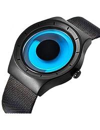 腕時計 メンズ  デザイナーズ カジュアルなビジネスファッションステンレスメッシュ防水時計 (青)