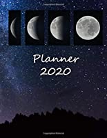 Planner 2020: One Year Calendar with Monthly and Weekly with Black & Gold vintage style Cover included To Do List, Password Log and Notes (2020 Planner January through December) (moon)