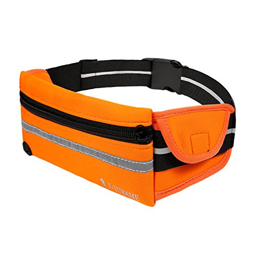 F-TUBAME 360°伸縮反射材付き ランニング ポーチ&ランニングベルト ランナーポーチ スマホ対応 夜間 ランニング ウェストポーチ ベルトポーチ ジョギング ポーチ 5色選択可 オレンジ
