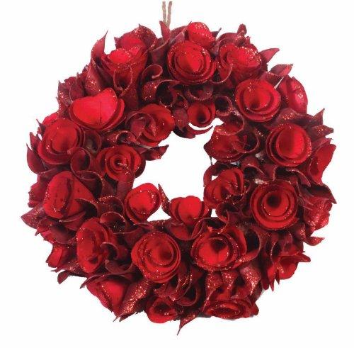 [해외]자연 임대 드라이 리프 &  레드 로즈 25cm/Natural lease dry leaf &  red rose 25 cm
