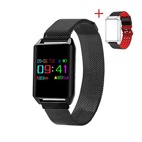 iOS8.0 (ギフト:ストラップ) 消費カロリー IP67防水 活動量計 睡眠検測 LINE通知 着信 腕時計型 & 血圧測定 スマートブレスレット 歩数計 SMS通知 対応MYR アラーム 電話通知 心拍計 Android 4.4&ブルートゥース4.0 スマートウォッチ
