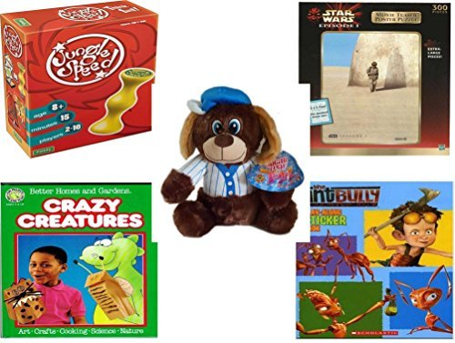 "Children's Gift Bundle - Ages 6-12 [5 Piece] - Jungle Speed! Game - Star Wars Episode 1 Movie Teaser Poster 300 Piece Puzzle - Sugarloaf Toys Baseball Dog Plush 11"" - Better Homes and Gardens Crazy [並行輸入品]"