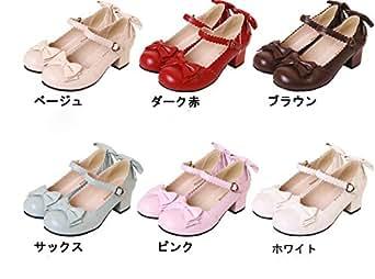 【Guirui】お嬢様風ロリータ靴 LOLITA ゴスロリ ヒール4cm ブラック 丸トウ レディスファッション メイド靴 女の子 リボン付 可愛い コスプレ靴 ブラック 40