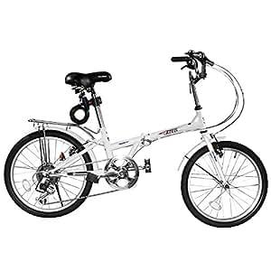 SHINE WOOD(シャインウッド)20インチシマノ6段折りたたみ自転車 コイルワイヤー錠(ホワイト)
