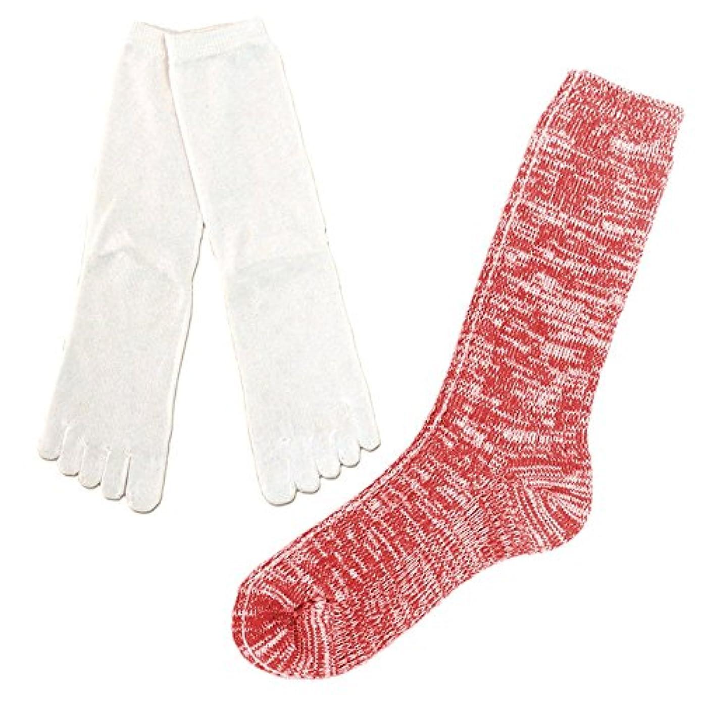 北へご近所値下げシルク 5本指 & コットン リブ ソックス 冷えとり 2足セット 重ね履き 靴下 日本製 23-25cm (赤杢)