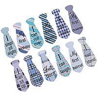 Perfk 赤ちゃん 誕生日パーティー 衣装飾り ネクタイ レター付き ステッカー 写真 小道具 12枚/セット