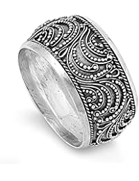 Bali Filigree Oxidized Unique Thumb Ring New 925 Sterling Silver Band Size 12