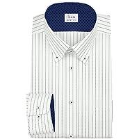 ワイシャツ 軽井沢シャツ [A10KZB813]ボタンダウン ショート 白地ネイビーストライプ 形態安定 らくらくオーダー受注生産商品
