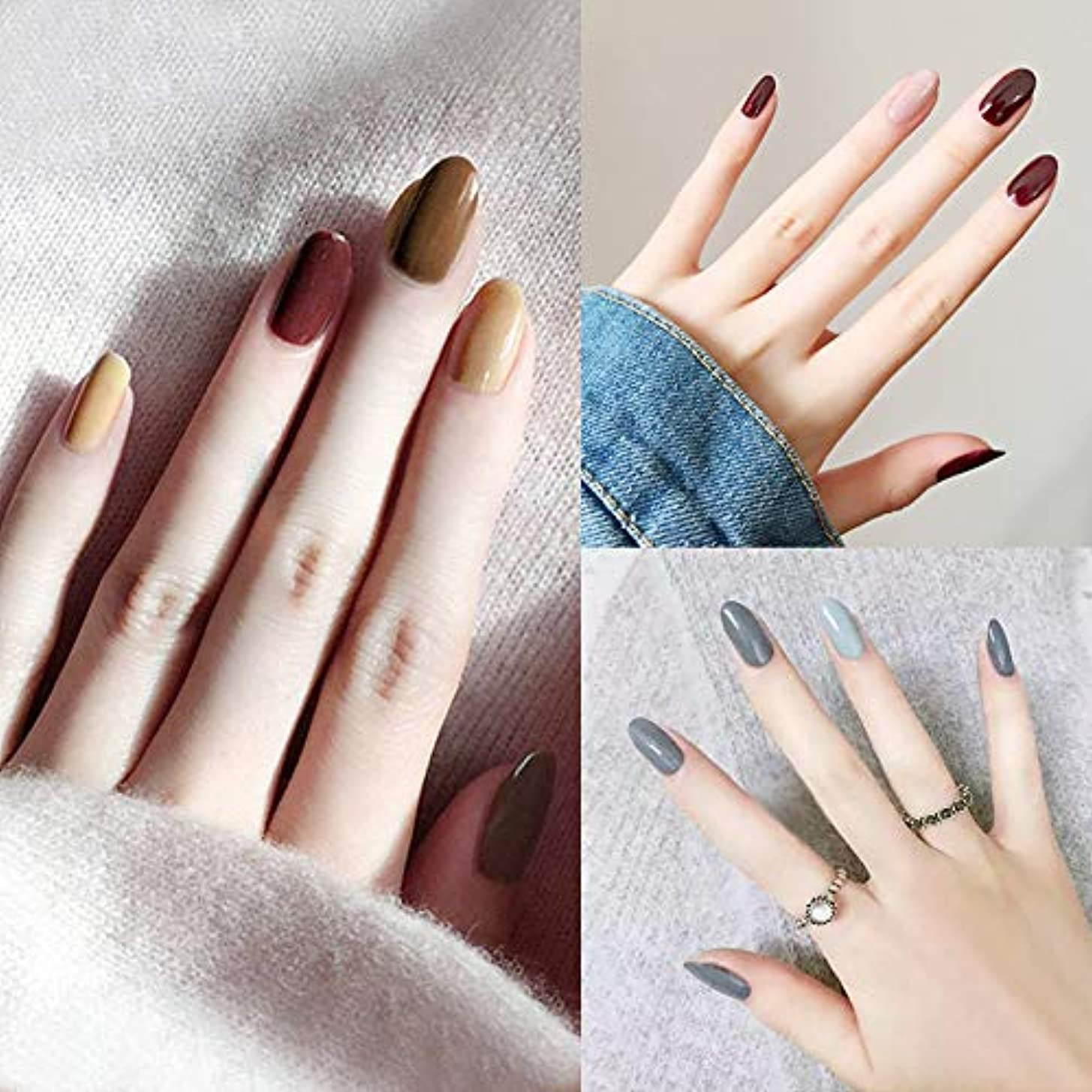 静的変化する義務ファッションレッドクリームインクハリスタイル偽爪純粋な色偽爪24ピースフルブライダルネイルのヒント滑らかな指装飾のヒント接着剤付き人工爪