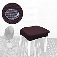 JX-SHOPPU チェアカバー 椅子カバー 取り外し可能 座面 防水 ダイニングチェアカバー ダイニング椅子カバー 食卓椅子カバー 洗える伸縮性イスカバー 5色展開 (ブラウン) Seat Cover Brown