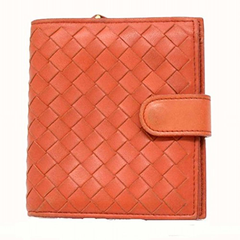 ボッテガヴェネタ BOTTEGA VENETA イントレチャート ラムスキン 二つ折 折財布 オレンジ 橙 121059 中古