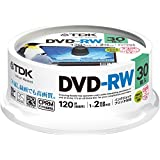 TDK 録画用DVD-RW デジタル放送録画対応(CPRM) 1-2倍速 インクジェットプリンタ対応(ホワイト・ワイド) 30枚スピンドル DRW120DPWA30PU