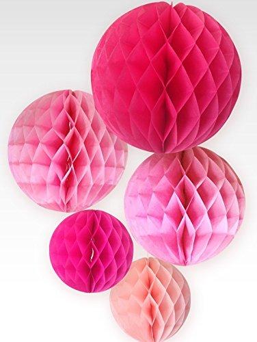ハニカムボール3サイズ5個セット(ピンク系)par035