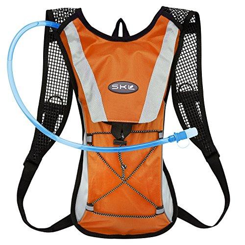 GIM ランニングバッグ サイクリングバッグ 超軽量 自転車 リュック 通気 防水 ハイキング ジョギング 2Lハイドレーション付き(オレンジ)