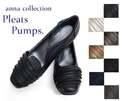 【ブラック 21.5cm】 (アンナコレクション)anna collection プリーツパンプス No.941